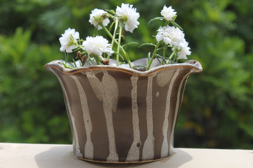 Brown and White Planter
